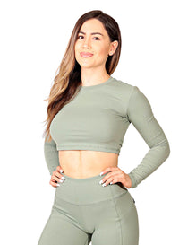SCULPT LONG SLEEVE CROP TOP
