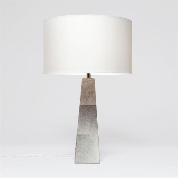 Chic and Contemporary Gray Cowhide Table Lamp, Coastal & High Rise, Table Lamp