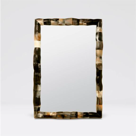 Natural-Horned Large Foyer Mirror, Coastal & High Rise, Rectangle Mirror
