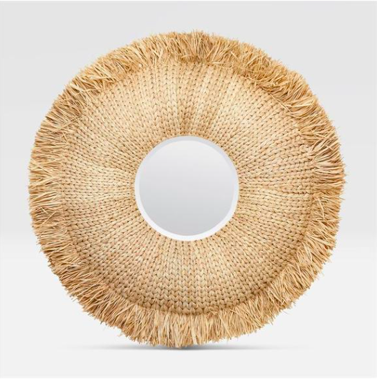Natural Raffia Mirror, Round Mirror, Ocean Decor, Beach Decor - Coastal & High Rise