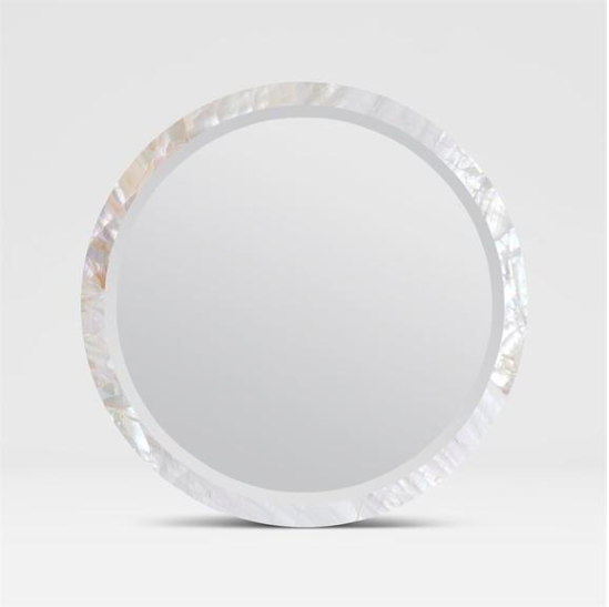 Contemporary Polished River Shell Mirror, Coastal & High Rise, Round Mirror
