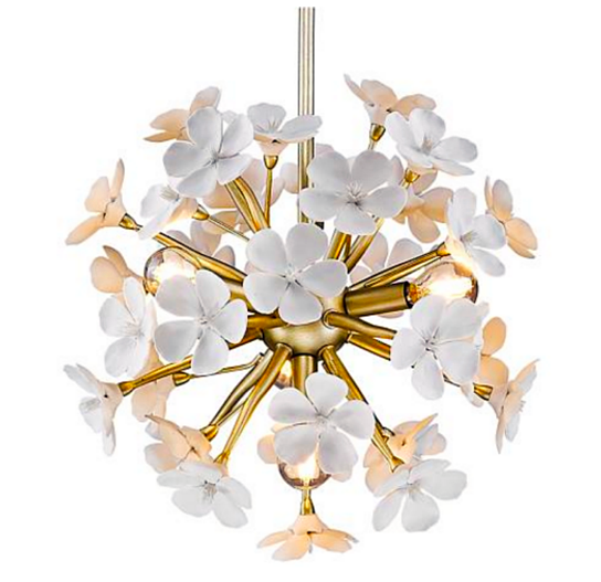 White and Gold Frangipani Flower Pendant Light, Pendant Light, Ocean Decor, Beach Decor - Coastal & High Rise
