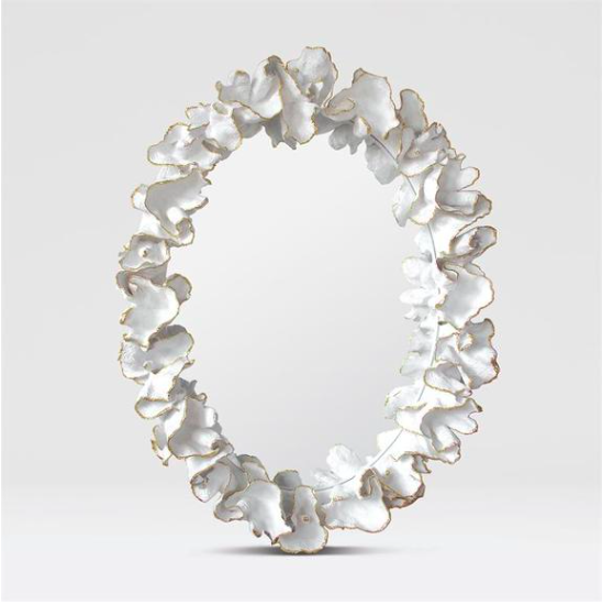 Modern Decorative White Coral Leaf Mirror, Coastal & High Rise, Round Mirror