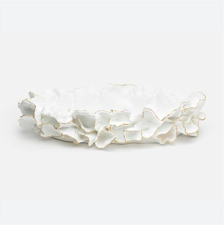 White Coral Leaf Tray, Coastal & High Rise, Trays