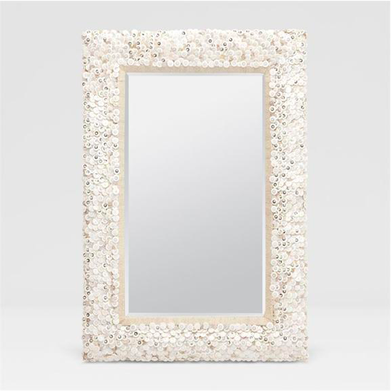 Decorative Woven & White Beaded Mirror, Coastal & High Rise, Rectangle Mirror