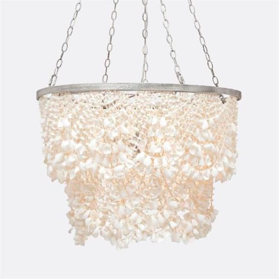 White Clamshells Draped Chandelier, Coastal & High Rise, Chandelier