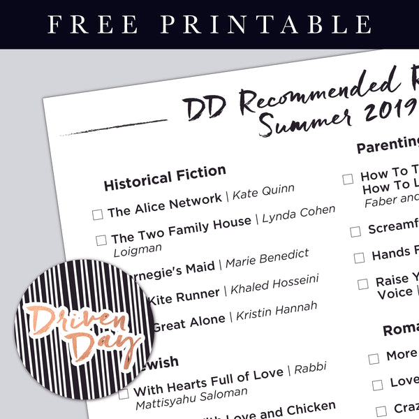 DD Recommended Reads: Summer 2019 Printable