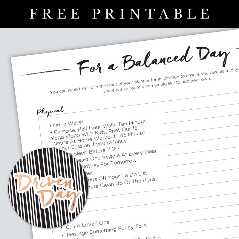 A Balanced Day Inspiration Printable