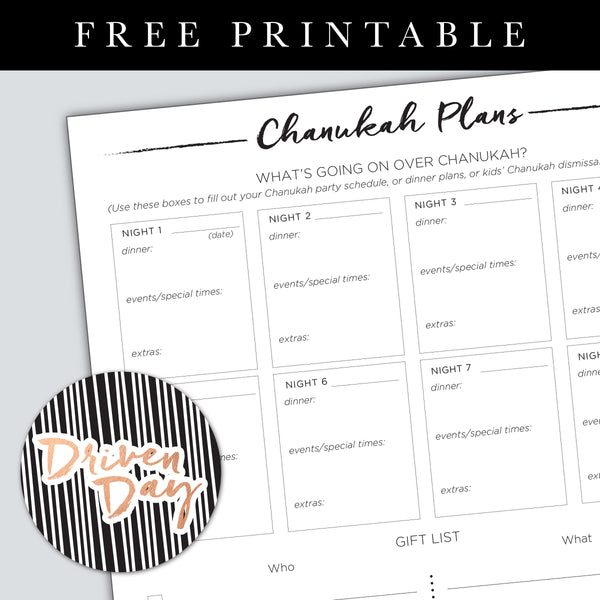 Chanukah Plans Printable