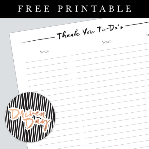 Thank You's List Printable