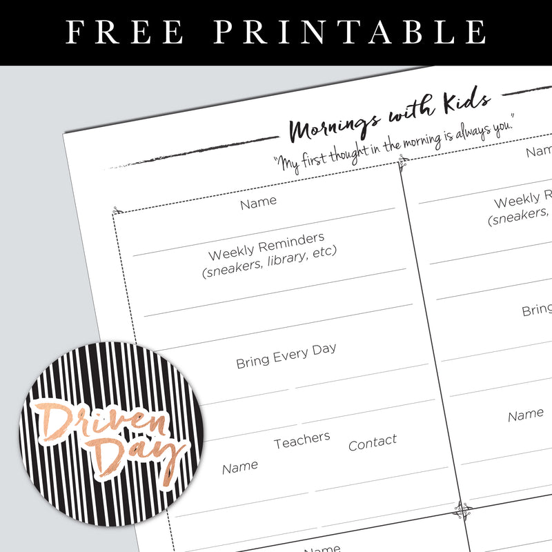 Mornings With The Kids Printable