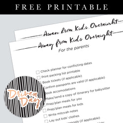 Away From The Kids Overnight Printable
