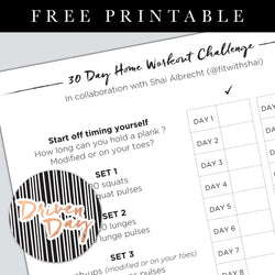 30 Day Home Workout Challenge Printable