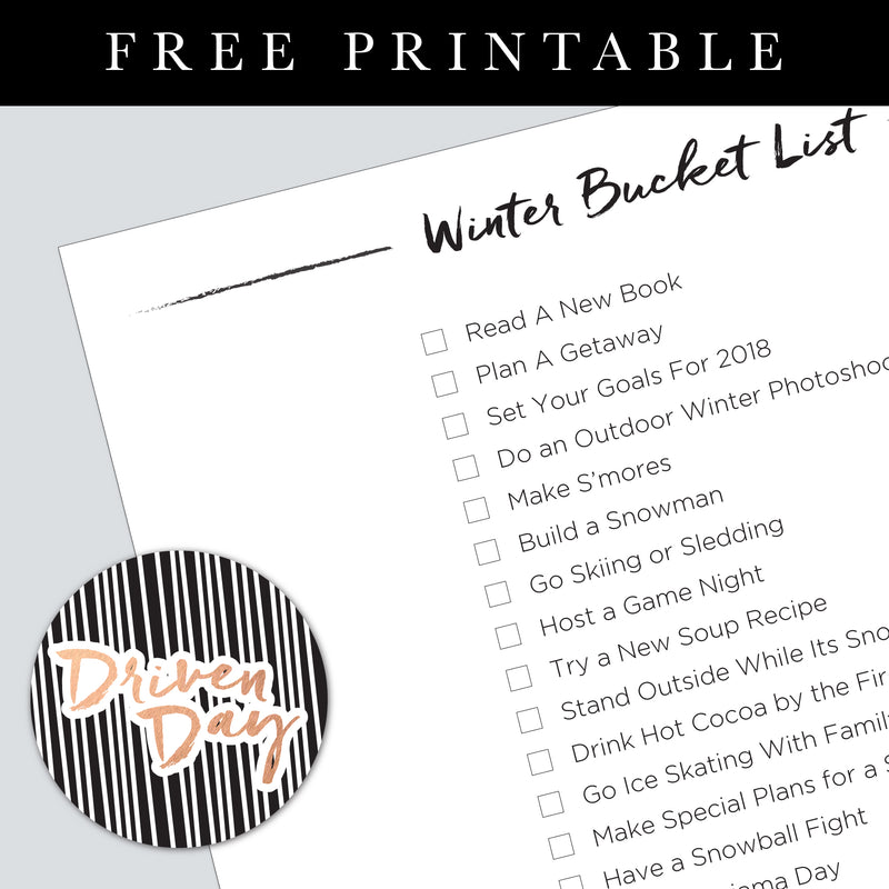 Winter Bucket List Printable