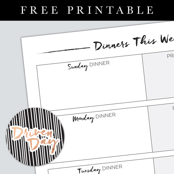 Weekly Dinners Printable