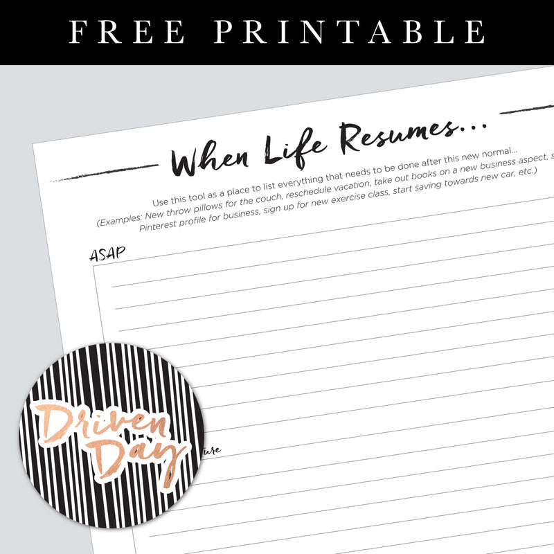 When Life Resumes Printable