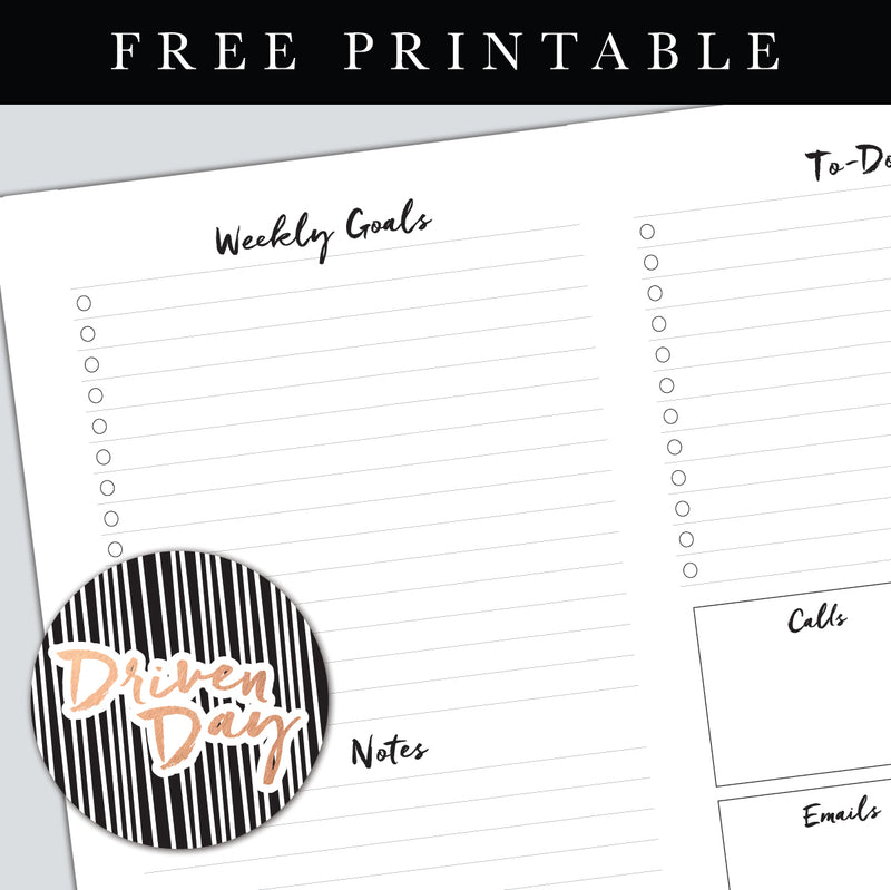Weekly Plan Page Template Printable