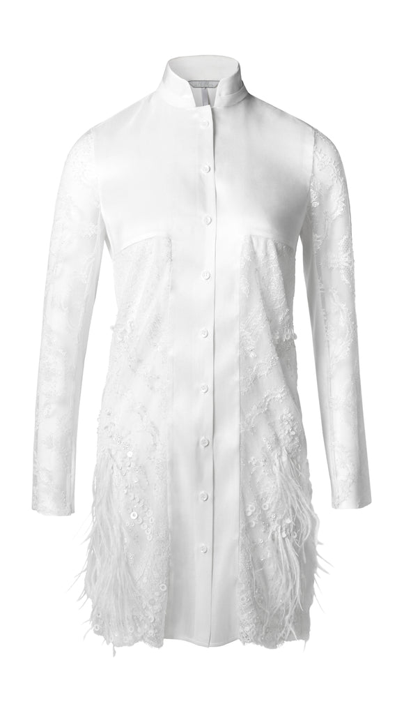 LIMITED EDITION - MIA WHITE FRENCH LACE SHIRT DRESS - xllullan