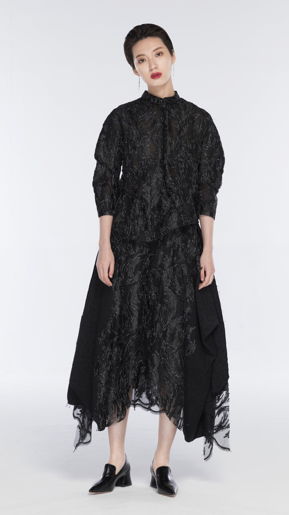 Emilia Curve Sleeved Embroidered Silk Shirt - xllullan