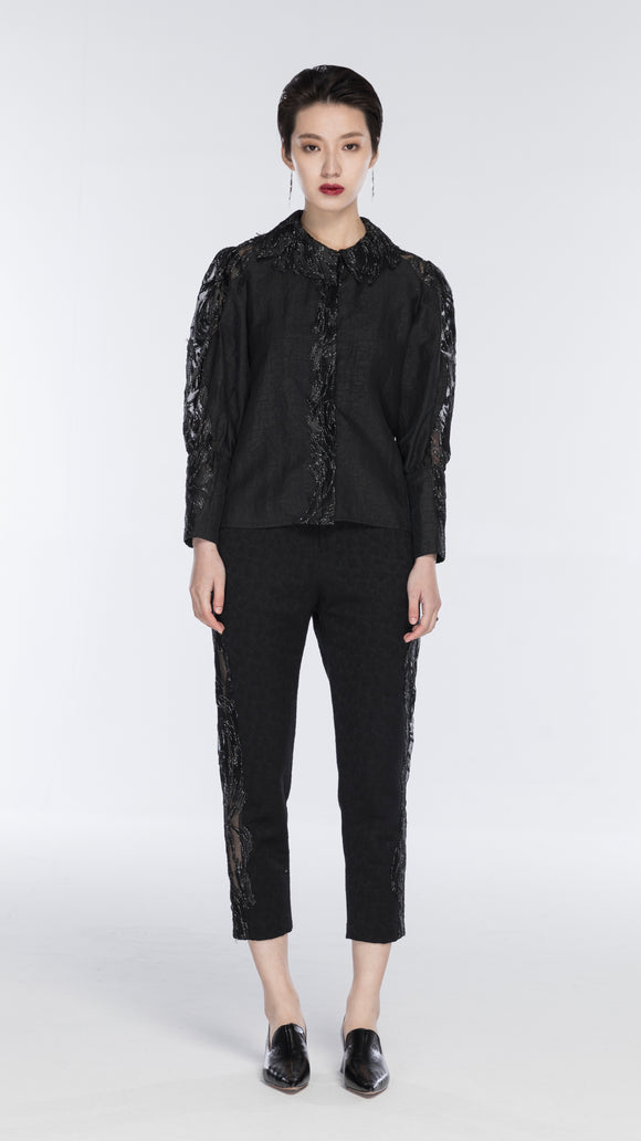 Emilia Silk Shirt With Embroidered Bell-Sleeve