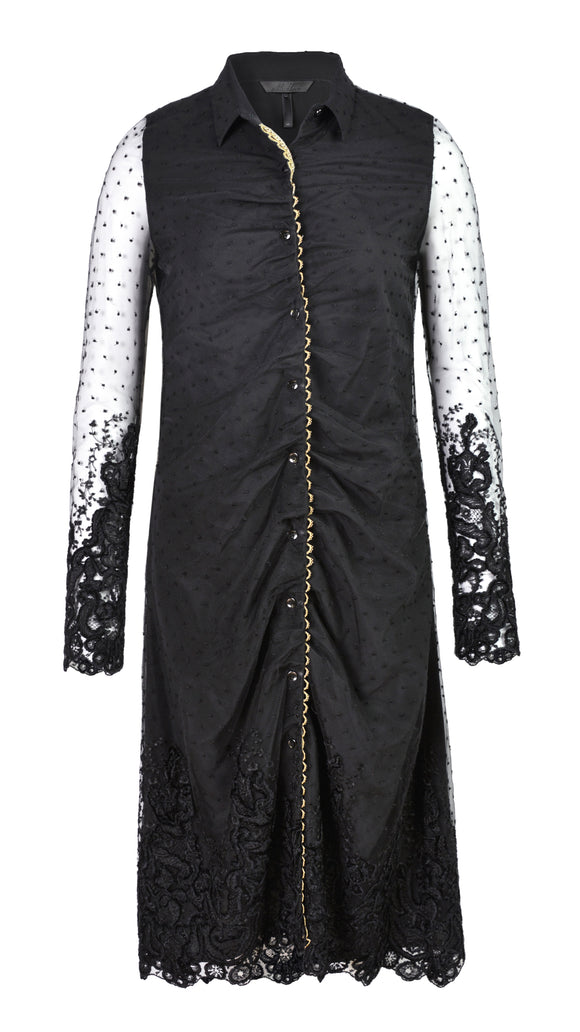 FELICITY SLEEVED CHENILLE EMBROIDERED SHIRT DRESS - xllullan