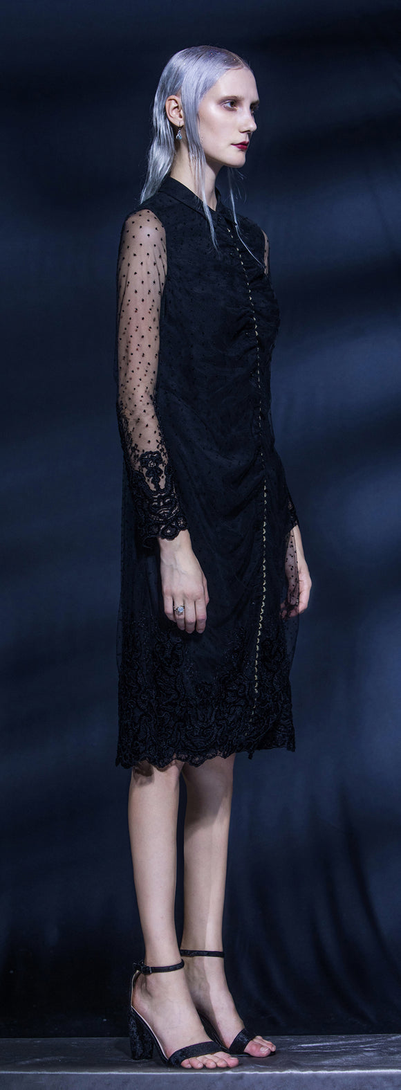FELICITY SLEEVED CHENILLE EMBROIDERED SHIRT DRESS