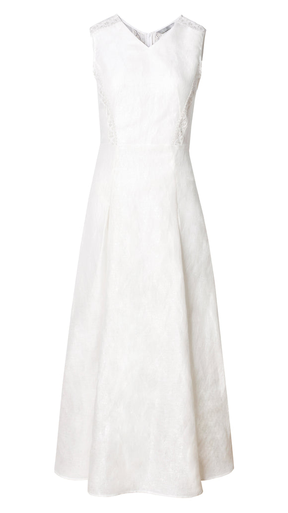Kendra White Dress with Lace Panels - xllullan