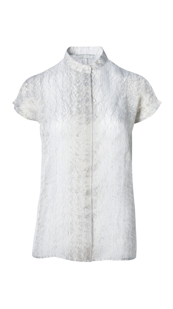 Amanda Collared Short Sleeve Shirt with Metallic Threaded Novelty Fabric - xllullan