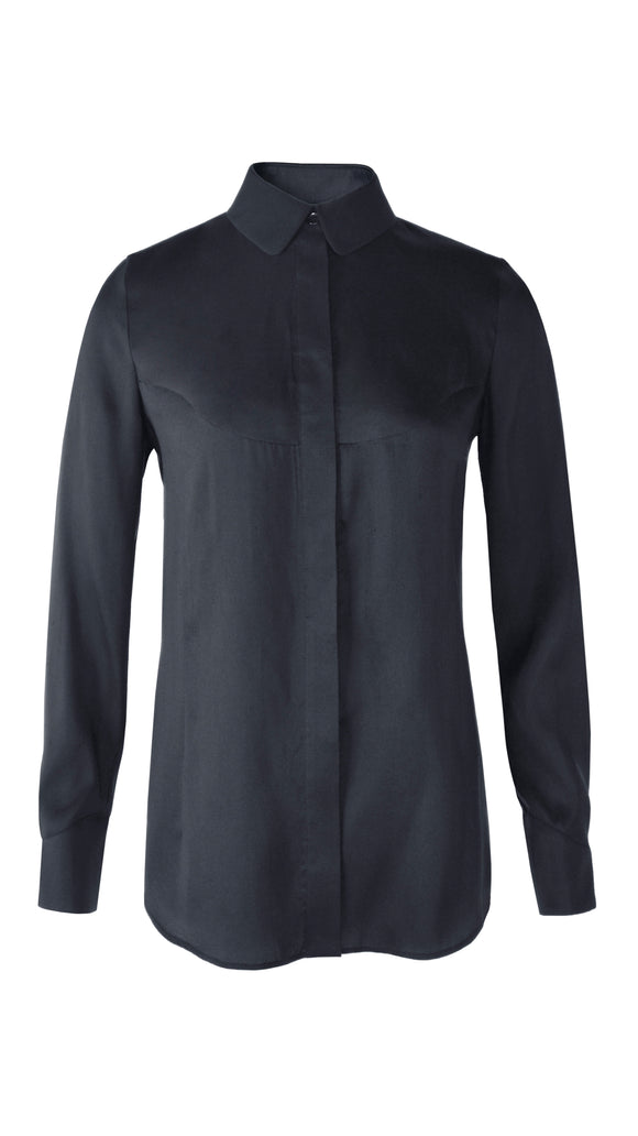 Black Amelia Silk Fitted Shirt - xllullan