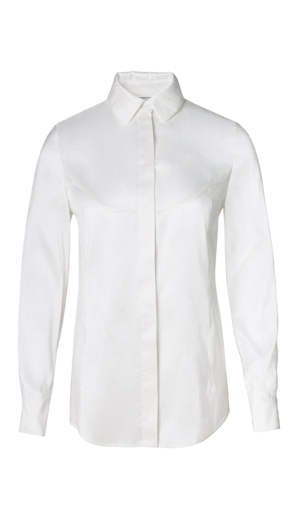 White Amelia Silk Fitted Shirt - xllullan