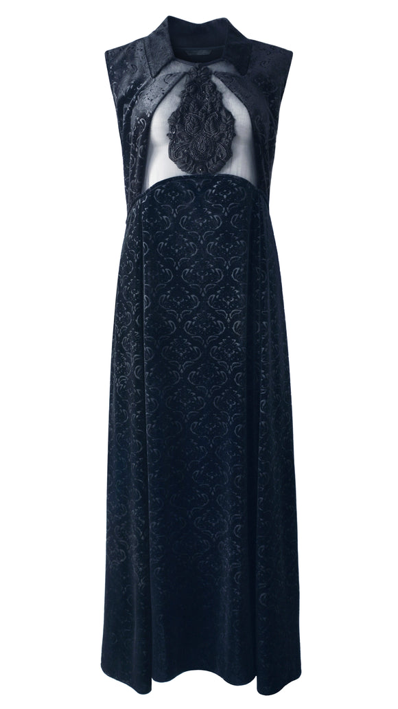 Laila Hand-Beaded Front Velvet Evening Dress - xllullan