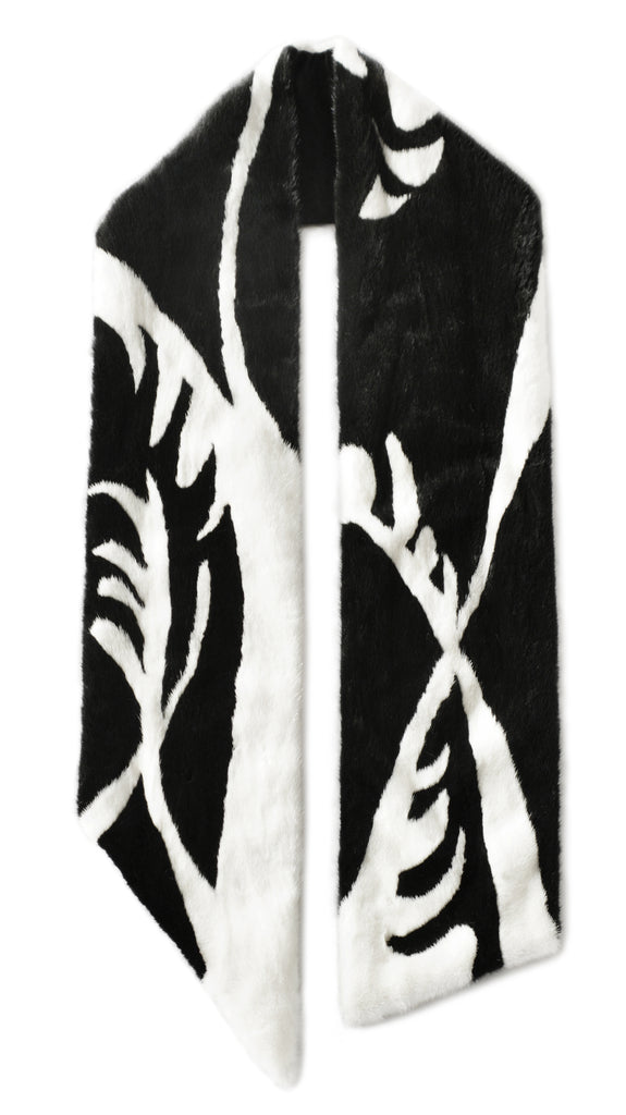 Black/White Mink Scarf