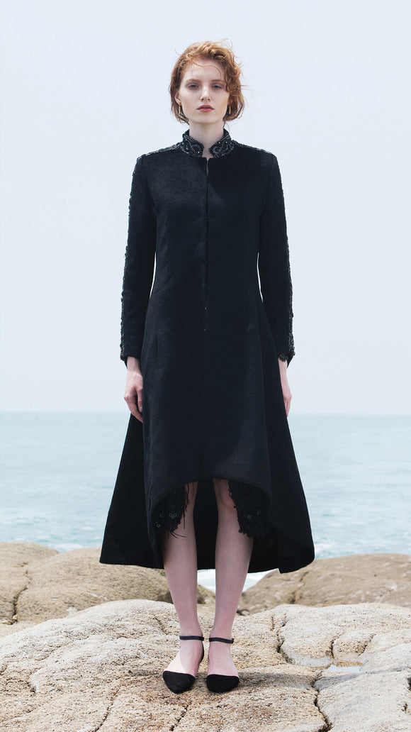 Evelina Hand-Beaded Collar Wool Coat - xllullan