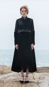 Evelina Mink/Wool Coat with Hand-Beaded Waist - xllullan
