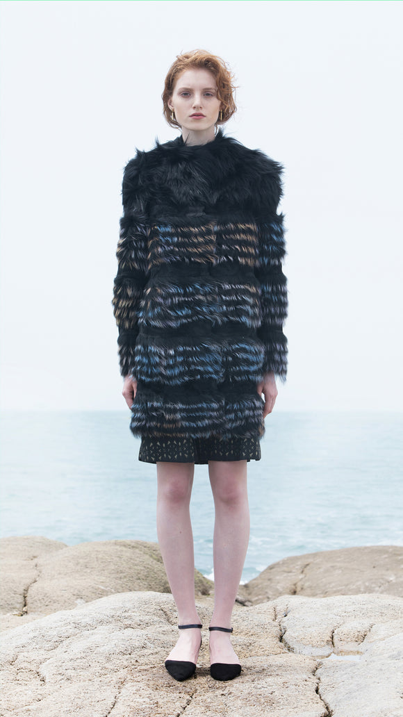Black with Multicolor Dyed Fox Fur Coat - xllullan