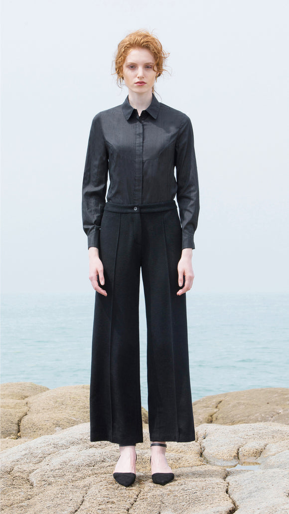 Alessia Black Wool/Cashmere Pant