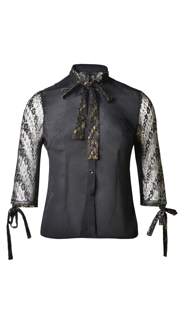 LIMITED EDITION - METALLIC FRENCH LACE TIE NECK BLOUSE - xllullan