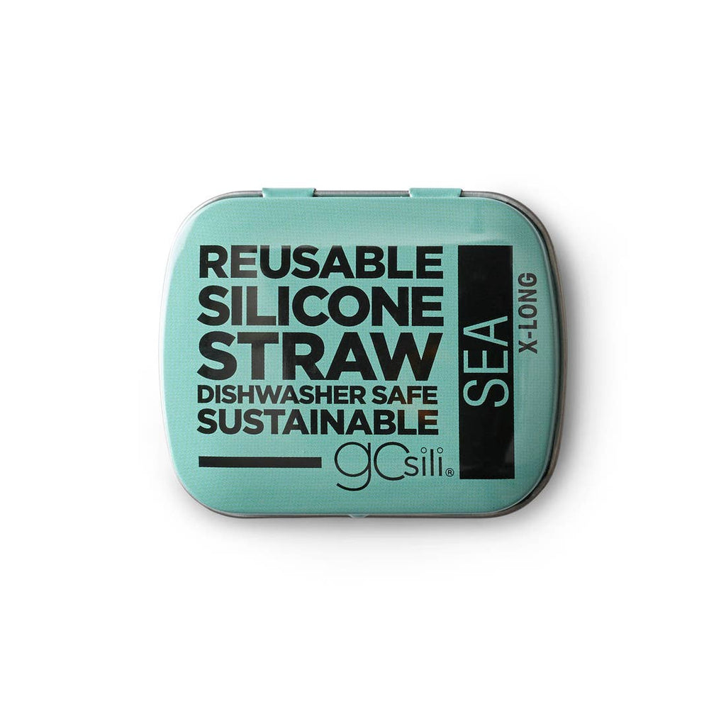 GoSili X-Long Silicone Straw in Travel Tin - Choose Color