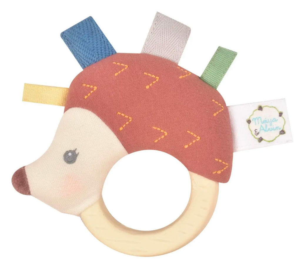 Ethan the Hedgehog - Plush Rattle With Rubber Teether