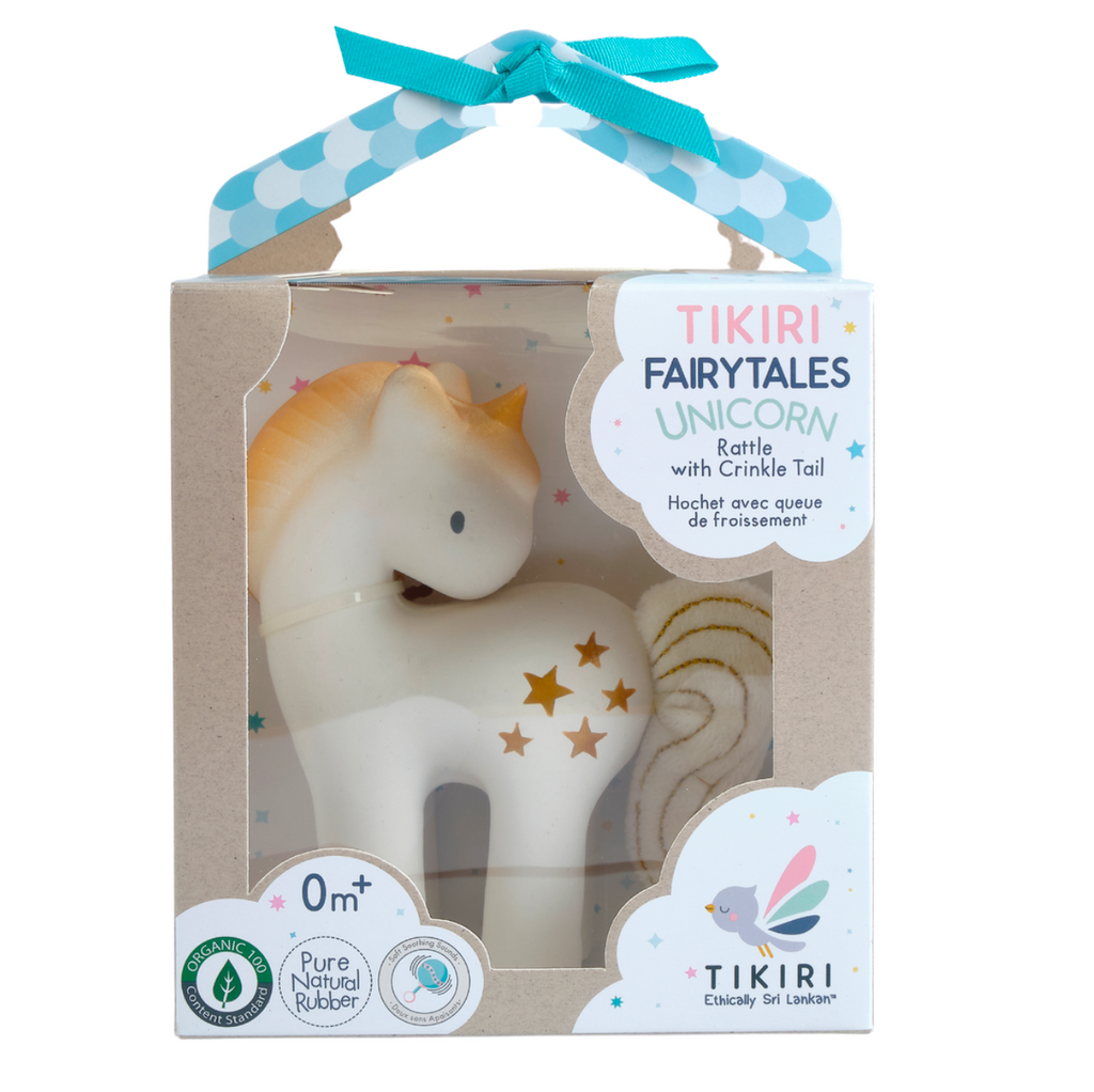 Tikiri - Shining Stars Unicorn Natural Rubber Rattle