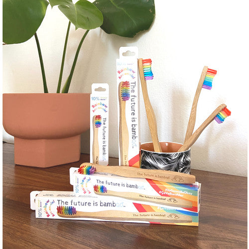 Rainbow ADULT Bamboo Toothbrush Singles