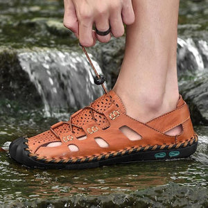Men's Leather Sports Beach Breathable Casual Water Shoes