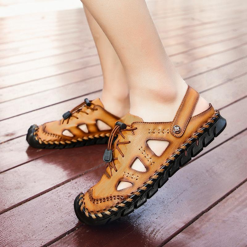 Men's Leather Sandals Summer Breathable Beach Shoes