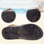 Men's Casual Cowhide Leather Suede Buckle Beach Sandals