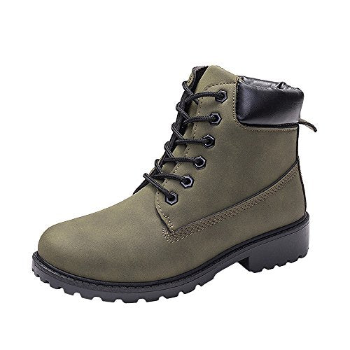 Men's Women's High-Top Lace up Ankle Boots Combat Booties Outdoor Walking Hiking Trekking Shoes