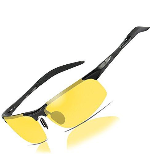 Mens Womens Night Vision Driving Sports Design Anti Glare Rain Day Glasses with Yellow Lens for Outdoor Activities Sunglasses