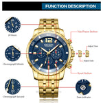 Men's Gold Stainless Steel Quartz Watches Business Chronograph Analgue Wristwatch Waterproof Luminous