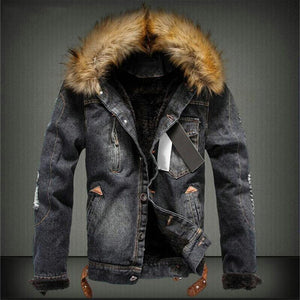 Men's Winter Warm Denim Jacket Heavy Hair Collar Casual Cowboy Coat