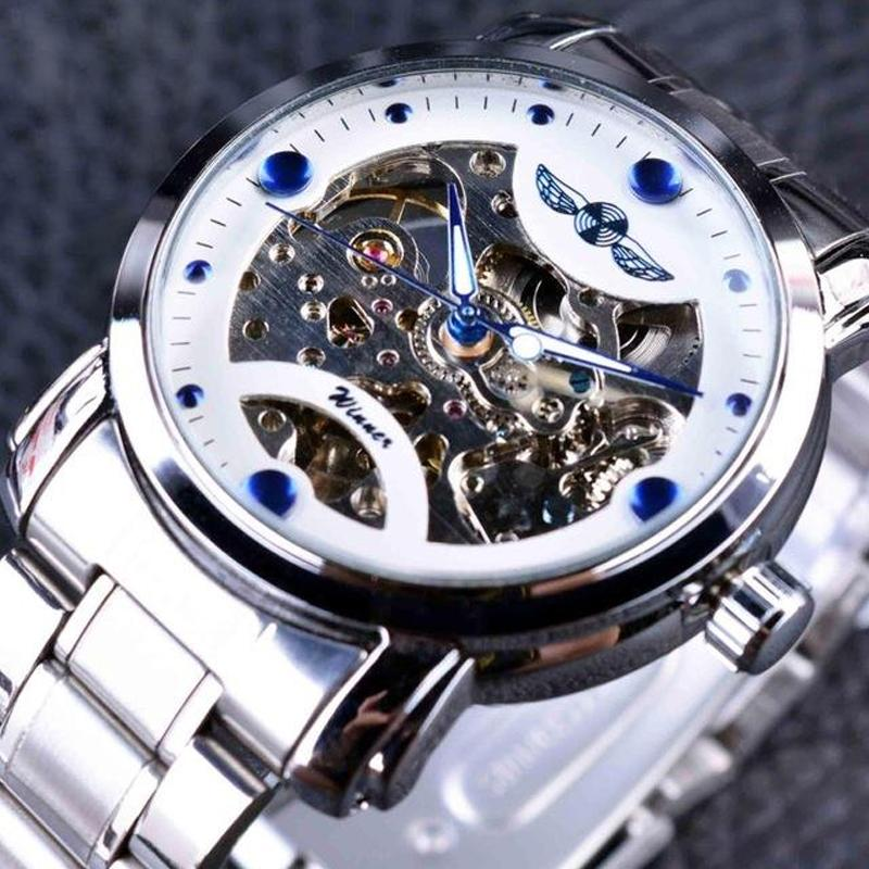 Men Skeleton Watch Men's Casual Designer Stainless Steel