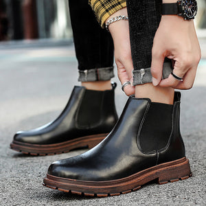 Men's Genuine Leather Chelsea Ankle Boots Retro Casual British Martin Boots Men Slip On Shoes